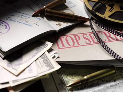 top secret documents, money, film, and passport